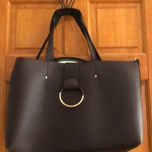 Faux leather red / O-ring / work tote bag
